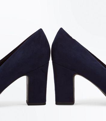 Wide Fit Navy Comfort Flex Court Shoes New Look