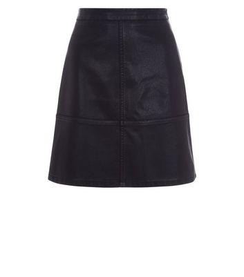 Tall Black Leather-Look Mini Skirt New Look