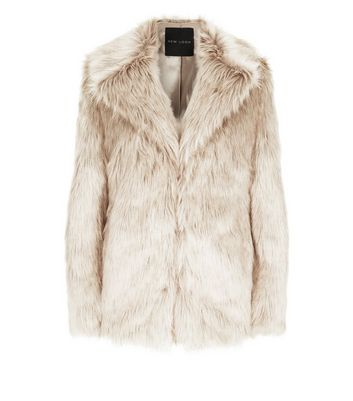 Cream Faux Fur Coat New Look