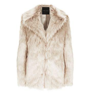 Cream Faux Fur Coat New Look