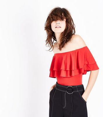 Tall Red Double Frill Bardot Neck Bodysuit New Look