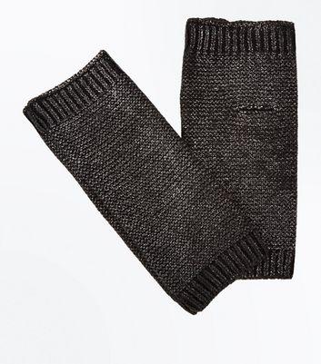 Black Metallic Handwarmer Gloves New Look