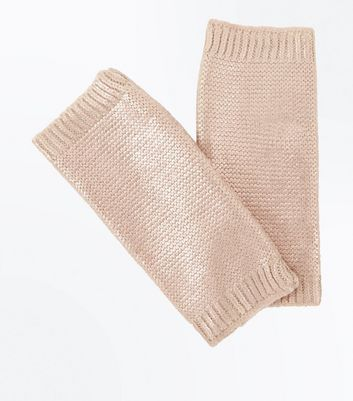 Cream Metallic Handwarmer Gloves New Look