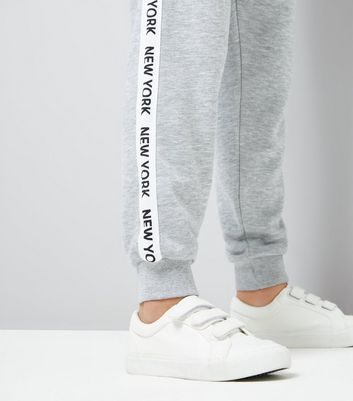 Teens Grey New York Slogan Print Side Tape Joggers New Look