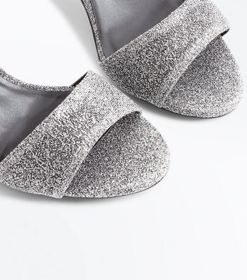 Teens Silver Glitter Block Heels New Look