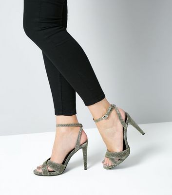 Wide Fit Gold Glitter Cone Heel Cross Strap Sandals New Look