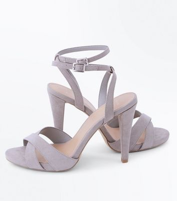 Wide Fit Grey Suedette Cone Heeled Sandals New Look