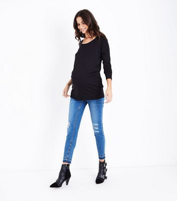 Maternity Black Ruched Side Long Sleeved Top New Look