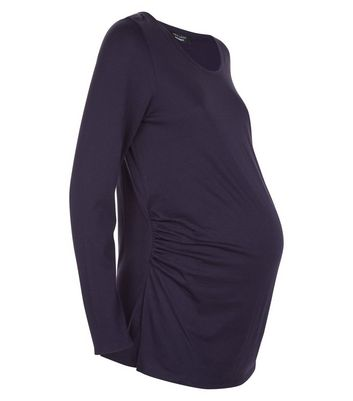 Maternity Navy Ruched Side Long Sleeved Top New Look