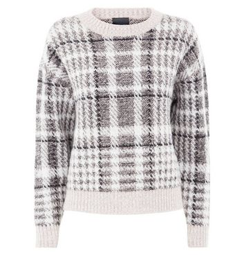 Tall White Textured Check Jumper New Look