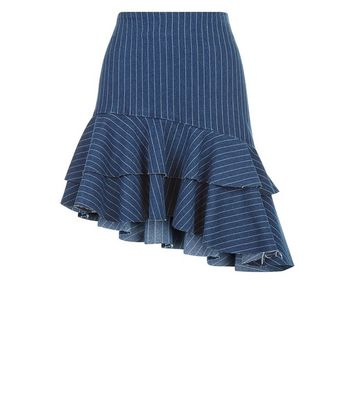 Blue Stripe Asymmetric Frill Trim Skirt New Look