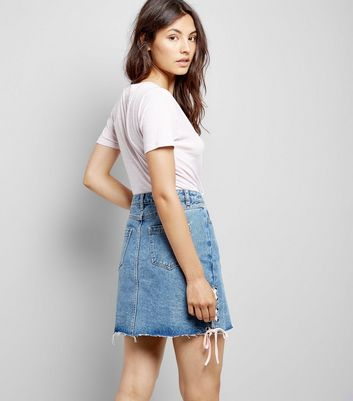 Blue Lace Up Side Denim Skirt New Look