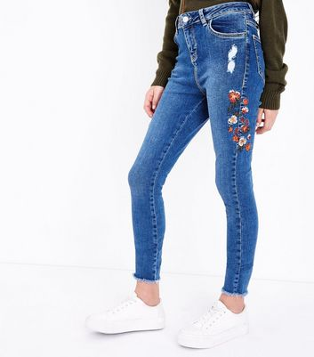 Teens Blue Floral Embroidered Skinny Jeans New Look