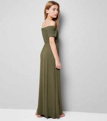 Teens Khaki Shirred Bardot Neck Maxi Dress New Look