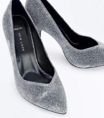 Wide Fit Silver Glitter Pointed Court Shoes New Look