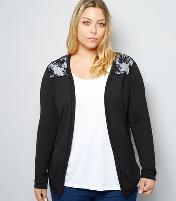 Curves Black Floral Lace Back Cardigan New Look