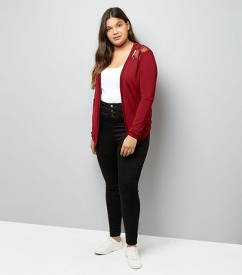 Curves Burgundy Floral Lace Back Cardigan New Look