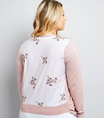 Curves Pink Sheer Embroidered Back Cardigan New Look