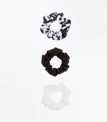 3 Pack Black White and Marble Print Scrunchies New Look