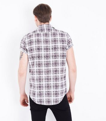 Black Acid Wash Check Print Short Sleeve Shirt New Look