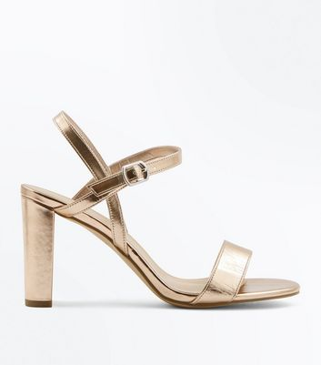 Wide Fit Rose Gold Metallic Block Heel Sandals New Look