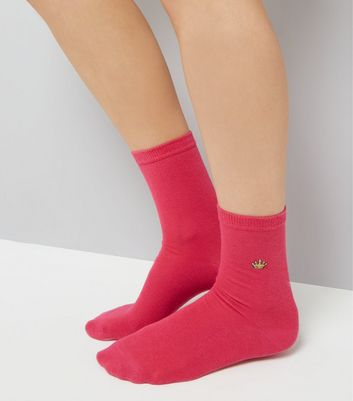 Bright Pink Embroidered Crown Socks New Look
