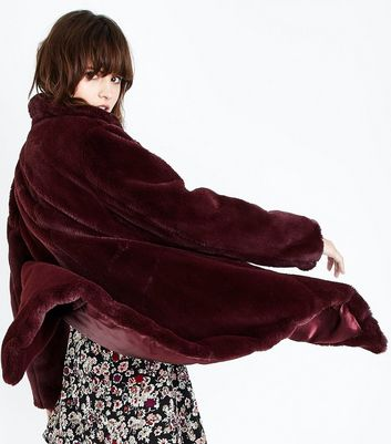 Burgundy Faux Fur Coat New Look
