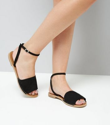 Black Leather Ankle Strap Sandals New Look