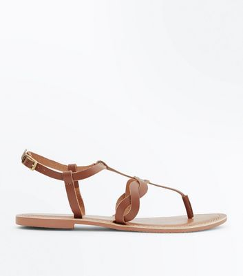Tan Leather Plait Strap Toe Post Sandals New Look