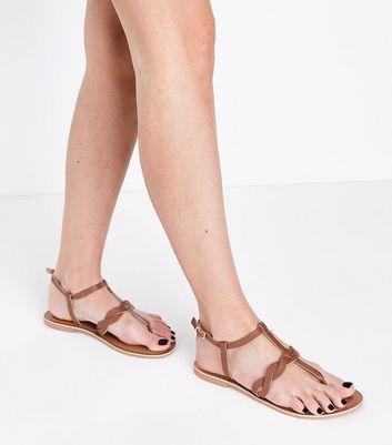 Leather SandalsNew Look Strap Plait Tan Flat f7gYyb6v