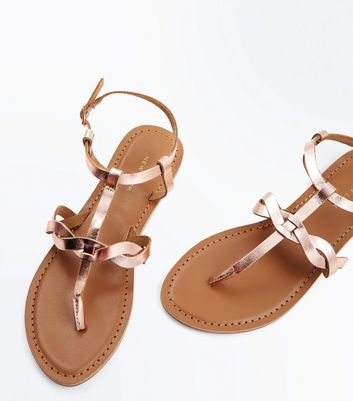 Rose Gold Leather Plait Strap Toe Post Sandals New Look