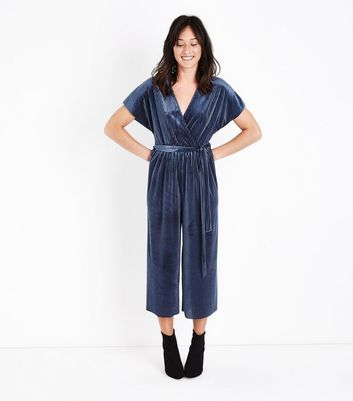 Navy Ribbed Velvet  Wrap Front Jumpsuit New Look