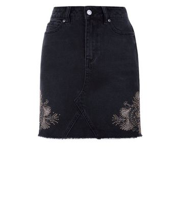Black Stud Embroidered High Waist Denim Skirt New Look