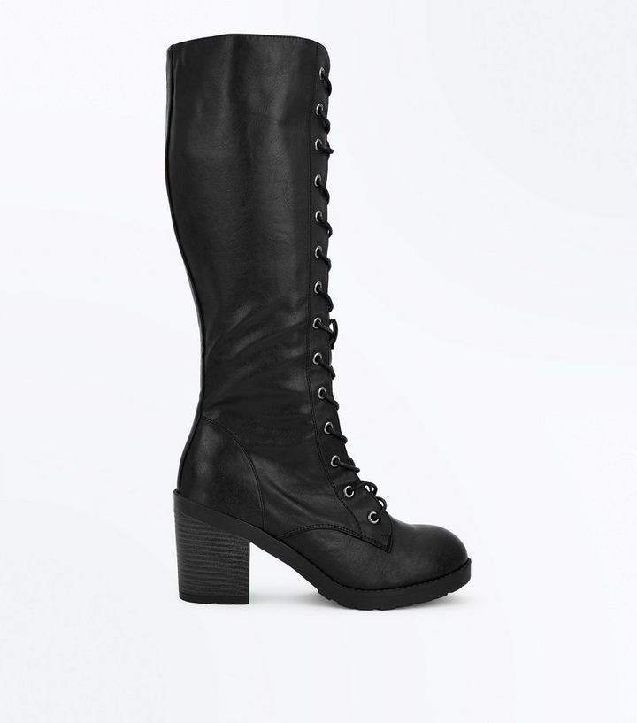 73010281535 Black Lace Up Knee High Boots