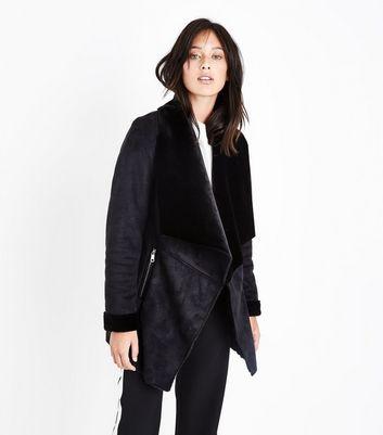 Black Suedette Waterfall Jacket New Look