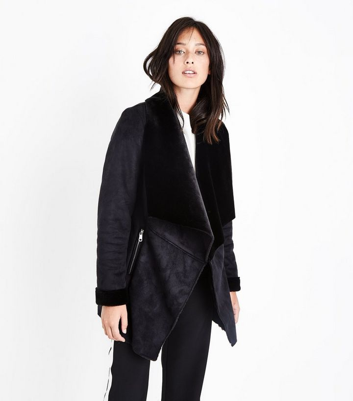 e6864fe8b Black Suedette Waterfall Jacket Add to Saved Items Remove from Saved Items