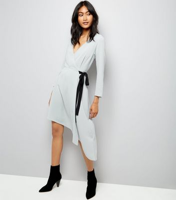Grey Asymmetric Wrap Front Midi Dress New Look