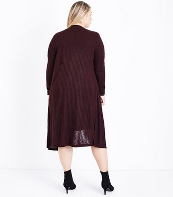 Curves Burgundy Ribbed Midi Cardigan New Look