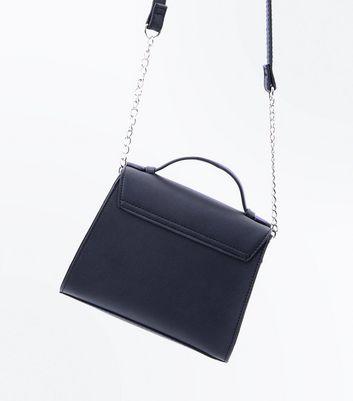 Black Brooch Front Mini Top Handle Bag New Look