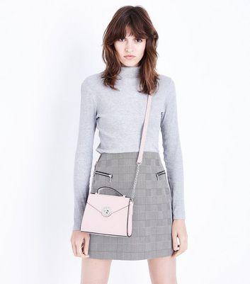 Nude Brooch Front Mini Top Handle Bag New Look