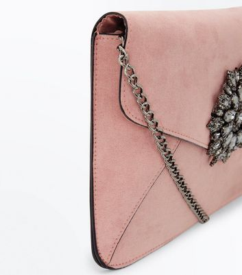 Shell Pink Embellished Suedette Clutch Bag New Look