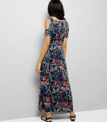 AX Paris Blue Floral Cold Shoulder Maxi Dress New Look