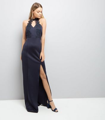 AX Paris Navy Crochet Neck Maxi Dress New Look