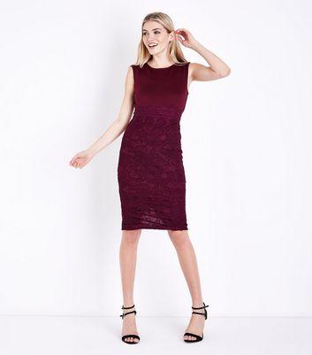 AX Paris Dark Purple Lace Skirt Midi Dress New Look
