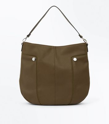 Khaki Round Studded Hobo Bag New Look
