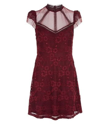 Burgundy Lace Sheer Panel Skater Dress New Look
