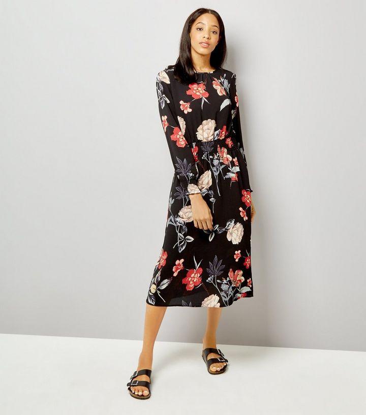 31652caac08 AX Paris Black Floral Print Midi Dress