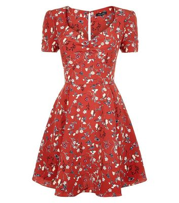 Red Floral Print Tea Dress New Look
