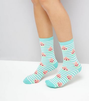 Green Stripe Smiley Water Melon Socks New Look