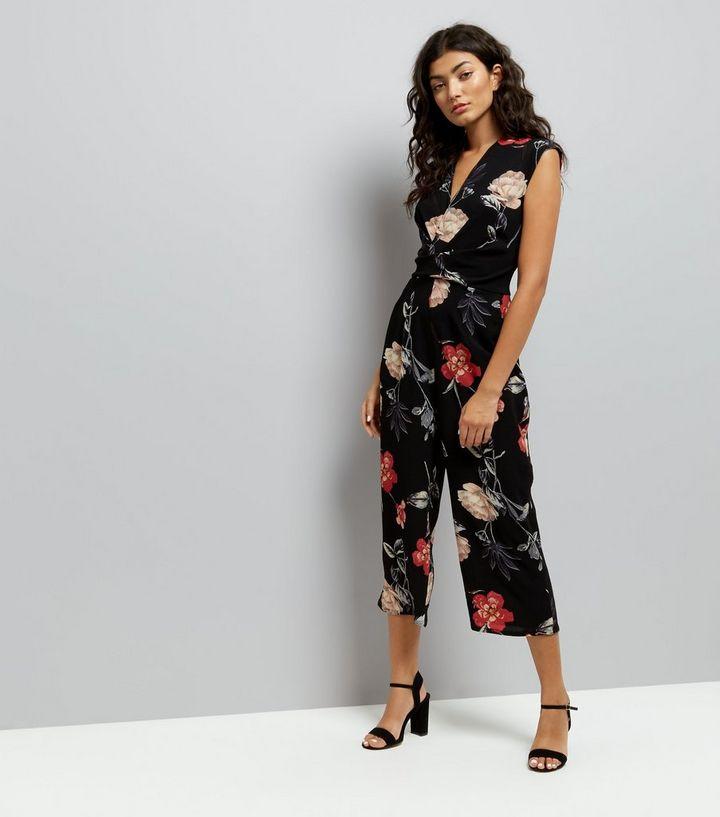 97c73f440de AX Paris Black Floral Culotte Jumpsuit